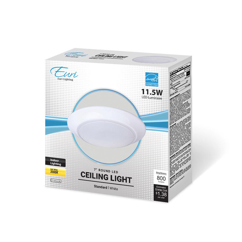 LED 10 trapezoidal Ceiling Light 3000K Euri Lighting EOL-CL33BLK-2030e 16W 120V Black 1260lm